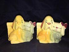 2 Shawnee Pottery Two Dogs Planters #611, Matching Set, Hound & Pekingese