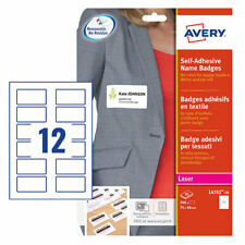 Avery L4782-20 Self Adhesive Name Badges, 75 x 40 mm, Repositionable, 12 Labels