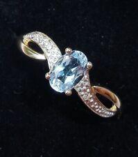 9ct Gold Blue Topaz & Diamond Ring, Size M