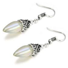 Fashion 925 Silver Ear Dangle Drop Earrings Women White Fire Opal Trendy Jewelry