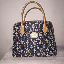 Royal Tapisserie Navy Blue Gold Tapestry Fleur De Lis Hand Bag Purse Tan Handle