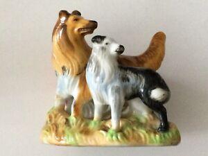 Adorale 2 COLLIE DOGS Made In Japan Vintage Cigarette oops TRINKET HOLDER!