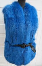 NEU !! FUCHS FOX WESTE VEST Echt Pelz royalblau gefärbter Blaufuchs S04