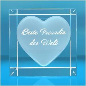 Glaswürfel mit Herz - Text:  Beste Freundin der Welt