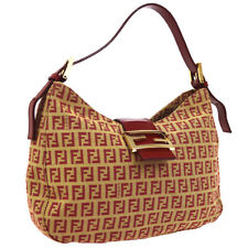 FENDI Zucchino Pattern Hand Bag Purse Red Beige Canvas Leather NR13991