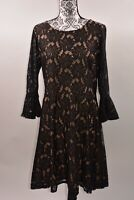City Studio Women's Floral Lace Bell Sleeve A-Line Dress Size 14
