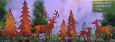 Gartenstecker 7 Rehe und Tanne Baum  NEU aus Metall in rost - braun Dekostecker