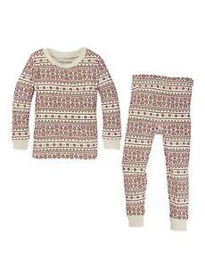 Burt's Bees Kids Medium Organic Cotton Fair Isle Red Pajamas Set New
