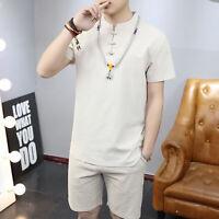 Chinesischer Stil Herren Kurzarm T-Shirt Shorts Stehkragen Schlank Anzughosen