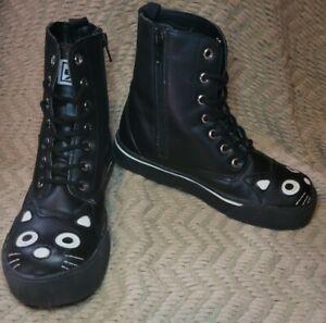 Women's T.U.K. Black Kitty Zip Sneakers Boot Size 8