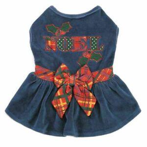 Holly Days Velvet Noel Holiday Dog Dress Christmas Hanukkah Blue Plaid MiscSizes