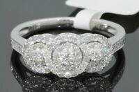10K WHITE GOLD .51 CARAT WOMENS REAL DIAMOND BRIDAL WEDDING RING ENGAGEMENT RING