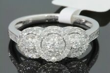 10K WHITE GOLD .57 CARAT WOMENS REAL DIAMOND BRIDAL WEDDING RING ENGAGEMENT RING