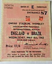 More details for england v brazil international match ticket wednesday may 8th 1963 wembley.