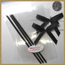 "50pcs x (6"" Plastic Lollipop Stick + Bag + Bows) for cake pops - Black"