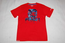 Boys S/S Tee Shirt Red Performance Tee Athletic Basketball Dripping Logo M 8 Med
