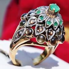1870 Handmade 14k multi tone gold 1.60ct black star sapphire & emerald ring 7.2g