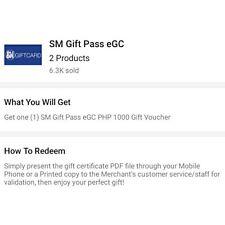 SM Gift Pass worth 6000