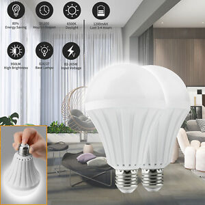 2PCS 12W (Equiv 120W) Rechargeable Emergency Bulbs LED Light With Battery Backup