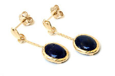 9ct Gold Oval Lapis Lazuli drop dangly Earrings Gift Boxed Made in UK Xmas