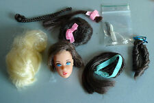 HAIR Fair testa BARBIE CON ACCESSORI 70er anni MATTEL brune