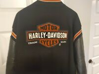 Harley Davidson Varsity Bomber Wool Jacket Leather Patches Classic USA Large