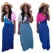 Fashion New Women V Neck Short Sleeves Color Block Patchwork Casual Maxi Dress
