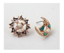 E615 Betsey Johnson Night Guardian Gem Dangling Earth Moon Sun Stud Earrings UK