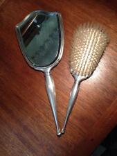 Birks Sterling Silver Brush and Vanity Mirror , Antique , vintage , ladies