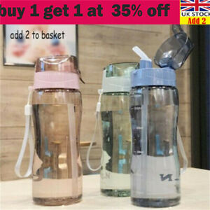 Portable Sports Water Bottle With Straw BPA Free Leakproof Gym Bottle Drink Muda