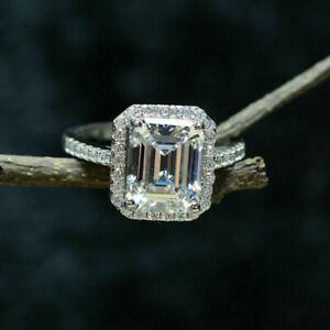 4Ct Emerald Cut VVS1/D Diamond Halo Engagement Ring Solid 14K White Gold Finish