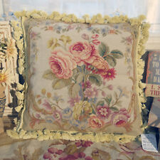 1.3' Beautiful Full Blooming Roses European Style Handmade Needlepoint Pillow