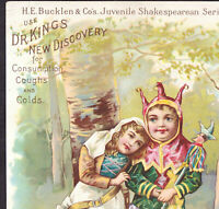 Dr Kings New Discovery 1895 Shakespeare Love's Labor Lost Cough Cure Trade Card