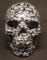 51mm 3.1OZ Natural Obsidian Snowflakes Crystal Carving Art Skull gift