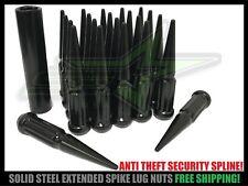 32pc 14x2.0 Black Spline Spike Lug Nuts For Ford F-250 F-350 Superduty + 2 Keys