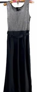 VTG 80s JOHN ROBERTS Jumpsuit 12 Sleeveless Silver Bodice Black Pants One Piece