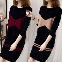 Women Knitted Dress Long Sleeve Dresses Sweater Velvet Sundress Casual Split ZB