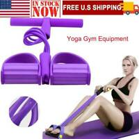 Foot Pedal Pull Rope Resistance 4-Tube Home Fitness Gym Equipment Sit-up Tool.