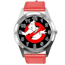 GHOSTBUSTERS FILM SCIFI MOVIE CD DVD RED REAL LEATHER STAINLESS STEEL WATCH