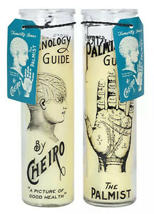 PALMISTRY AND PHRENOLOGY CANDLES PAIR TALL PILLAR CANDLES IN GLASS HOLDERS UK