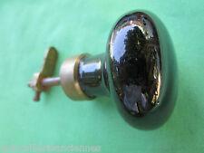 Gros boutons chevet porcelaine noire bagues ancien laiton porte meuble D 5 cm