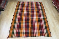 Old Handmade Persian Kilim flat weave rug with superb colour 200x135cm