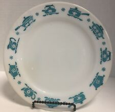 "~Vintage~*Hazel Atlas*~Turquoise/White Kitchen Aids 9"" Dinner Plate *17307N S96"