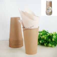 LARGE ECO BROWN KRAFT PAPER CUPS 500ML NATURAL VINTAGE 8PK PARTY SHABBY CHIC