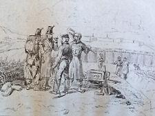 Grand Dessin Militaire  belle encre original 1850