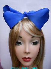 royal blue  Handmade huge  Big Girl Extra Large  JUMBO Satin clip Hair Bow