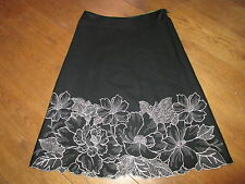 MONSOON BLACK SKIRT WITH WHITE EMBROIDERED DETAIL 12