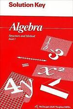 Algebra Structure and Method Book 1 Solution Key ISBN# 0395677645