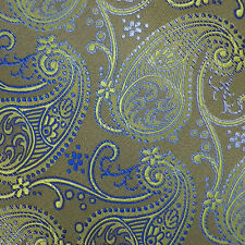 BEAU BRUMMEL Light Olive Lime Blue PAISLEY Self-tipped Woven Silk Tie NWOT