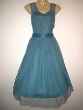 NEW VINTAGE 50'S STYLE BLUE/GREEN NETTED POLKA ROCKABILLY PARTY DRESS SIZE 10